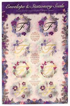 Initial F Floral Foil Envelope Seals Set of 8