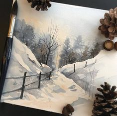 Winter scene watercolor painting payne's grey cold landscape artwork Awaisha #LandscapingWatercolor