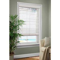 allen   roth�36-in W x 72-in L White Faux Wood 2.5-in Slat Room Darkening Cordless Window Horizontal Blinds