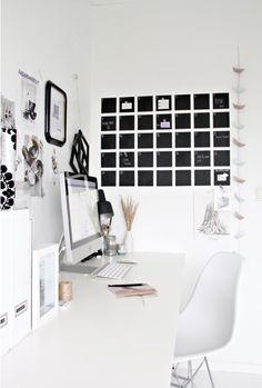 Chalkboard wall calendar (and a clean desktop).