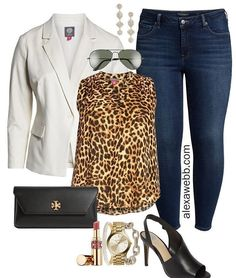 Plus Size Leopard Print Top for Night Out - Plus Size White Blazer, Leopard… Leopard Print Outfits, Leopard Print Top, Plus Size Looks, Plus Size Fashion For Women, Curvy Fashion, Petite Fashion, Fall Fashion, Style Fashion, Fall Winter Outfits