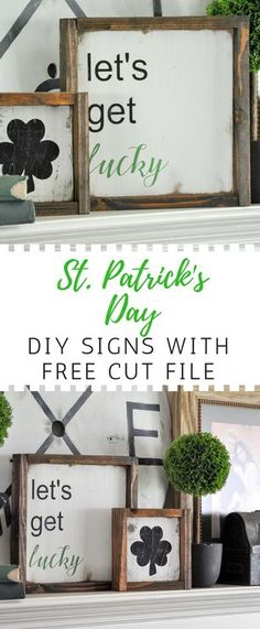 Adorable DIY St. Patrick's Day signs. This is simple holiday decor at its finest! St Patrick's Day Crafts, Easter Arts And Crafts, Crafts To Sell, Irish Blessing, Saint Patricks, St. Patricks Day, Diy St Patricks Day Decor, Holiday Signs, Holiday Decor