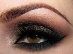 brown/green smokey eye with liquid liner