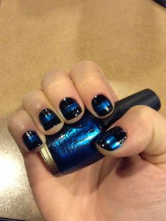 Playing around with nail polish. Thin Blue Line for my police friends! @Anna Bullock Mazur