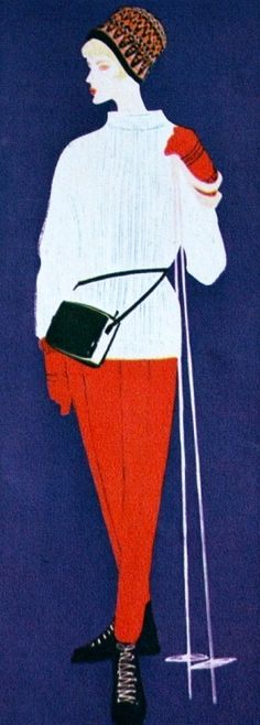 Ski fashion illustration 1960