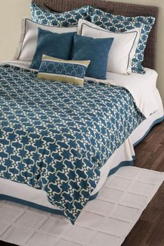 Cape Carley Bedding Set  Moroccan Flair and Peacock Blue Combine to Create This Stunning Set.  Item # 07999