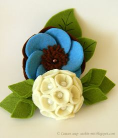 Pearl Flower & Blue Flower on Leaves Fabric Flower Brooch, Fabric Flowers, Fake Flowers, Diy Flowers, Felt Crafts, Diy And Crafts, Burlap Gift Bags, Felt Ball Rug, Felt Brooch