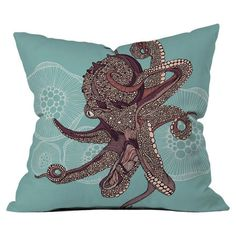 Multicolor throw pillow with a detailed octopus motif. Designed by artist Valentina Ramos. Product: PillowConstruction Ma...