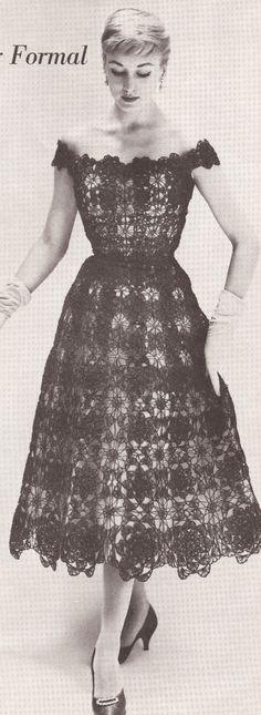 Vintage Crochet 1950's Lace Formal Evening Dress Pattern