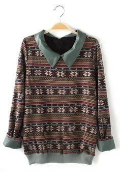 Vintage Leather Lapel Snow Flower Printed Pullover ~