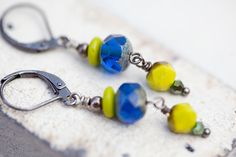 So Summery! Lime Cobalt Earrings chartreuse blue by beesandbuttercups on Etsy, $19.00