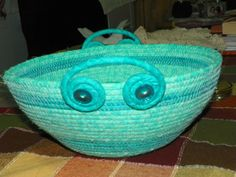 Coiled fabric basket / bowl aqua teal by squirrelridgedesigns, $35.00  Like the way they made these handles