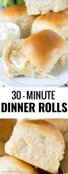 So incredibly easy to make and wonderfully delicious, these 30-Minute Dinner Rolls are the perfect addition to any meal! #spendwithpennies #30minuterecipe #roll #bun #side #easyrecipe