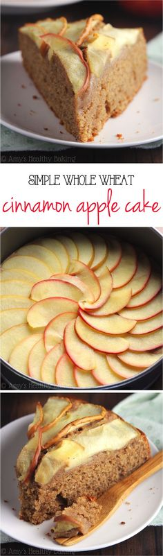 Simple Cinnamon Apple Cake -- this easy dessert is healthy enough for breakfast! Just 150 calories + 5g of protein!