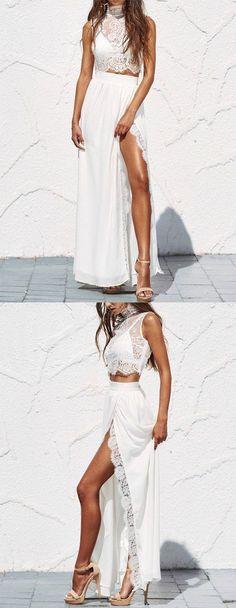 High Fashion Two-Piece Split-Front White Lace Long Prom Dress prom,prom dress,prom dresses B0937