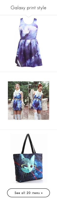 """Galaxy print style"" by udobuy ❤ liked on Polyvore featuring dresses, vestidos, udobuy, blue and white dress, galaxy print dress, galactic dress, space print dress, galaxy dress, white blue dress and nebula dress"