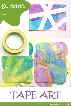 Karten Malen mit Kindern – Tape Art Painting cards with children, tape and watercolor Tape Art, Diy Art, Art Painting Tools, Painting Techniques, Diy Go Kart, Art Ideas For Teens, Karten Diy, Paint Cards, Acrylic Painting Canvas