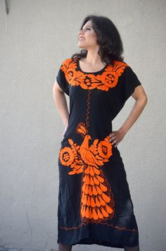 Vibrant Orange Mexican Hand Embroidered Dress / by Vtgantiques