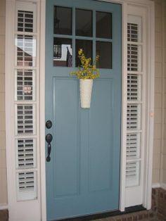 Front door color - Behr Dragonfly (Beautiful with terra cotta accents) Front Door Paint Colors, Painted Front Doors, Paint Colors For Home, Front Door Decor, Entryway Decor, Exterior Doors, Exterior Paint, Exterior Door Colors, Exterior Remodel