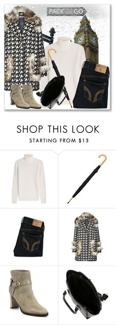 """""""Pack and Go: London"""" by andrejae ❤ liked on Polyvore featuring Michael Kors, Totes, Hollister Co., Just Cavalli, Jimmy Choo, women's clothing, women, female, woman and misses"""