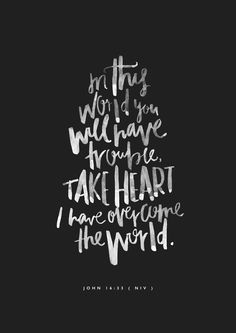 John 16:33 In this world you will have trouble, take heart, I have overcome the world.