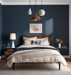 16 Navy Blue Bedroom Design and Decor Ideas for a Timeless Makeover - DIY and Craft Ideas & Home Decor Bedroom Colors, Home Decor Bedroom, Bedroom Furniture, Bedroom Ideas, Bedroom Designs, Bedroom Retreat, Cosy Bedroom, Kids Bedroom, Bedroom 2018