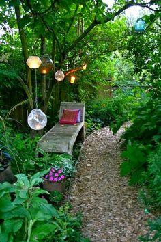 Beautiful Backyard, Solar lighting along the garden path