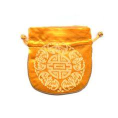 Pochon en soie Orange/Safran 100x110mm-5.00 EUR