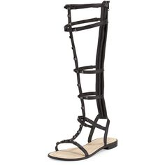 Rebecca Minkoff Giselle Studded Gladiator Sandal (227,705 KRW) ❤ liked on Polyvore featuring shoes, sandals, black, black strap sandals, flat sandals, black flat sandals, strap sandals and black sandals