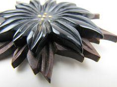 1930s Art Deco Huge Black Bakelite & Brown Wood by MercyMadge