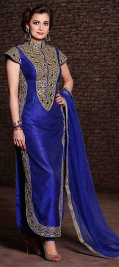 435493 Blue color family Bollywood Salwar Kameez, Party Wear Salwar Kameez in Banarasi, Silk fabric with Lace, Mirror, Patch, Sequence work .