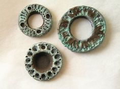 Unique ceramic connectors, set of 3, rustic black stoneware painted with green patina