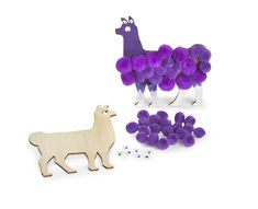"Kids will enjoy making these soft llamas as they learn about how these animals provide comfort to people and God gives us comfort! Includes: wood llamas, pom poms and wiggle eyes. Measures: 4"" x 3"".`"