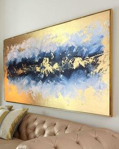 Large Abstract Oil Painting Large Wall Art Gold Leaf Art Modern Art Original Painting Abstract Paint - Optimistic gold & blue acrylic painting on canvas frame. It is original acrylic painting artwork ma - Blue Painting, Oil Painting Abstract, Acrylic Painting Canvas, Acrylic Art, Diy Abstract Art, Abstract Canvas, Abstract Landscape, Painting Art, Canvas Art