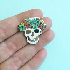 flower crown skull pin hard enamel brooch pin mothers day gift
