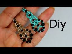 How to Make Jewelry - Bead and Crystal Earrings - Step by Step! Beaded Earrings Patterns, Seed Bead Earrings, Crystal Earrings, Flower Earrings, Diy Jewelry, Beaded Jewelry, Jewelry Design, Beaded Bracelets, Earring Crafts