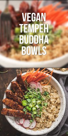 Vegan Tempeh Buddha Bowls - A healthy vegan dinner idea made from marinated tempeh, quinoa, and fresh veggies! Vegan Tempeh Buddha Bowls - A healthy vegan dinner idea made from marinated tempeh, quinoa, and fresh veggies! Healthy Food Recipes, Vegan Dinner Recipes, Vegan Dinners, Whole Food Recipes, Vegan Polenta Recipes, Plant Based Dinner Recipes, Tempeh Recipes Vegan, Vegan Recipes Healthy Clean Eating, Diet Recipes