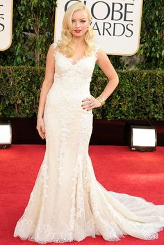 Francesca Eastwood wore a white lace gown and diamond jewelry at the Golden Globes 2013.