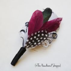 Feather Boutonniere Lapel Pin in White Black by TheHeadbandShoppe, $15.00