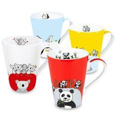 Waechtersbach Globetrotter Animals Zoo Panda/ Hippo/ Koala/ Penguin Mugs (Set of 4)