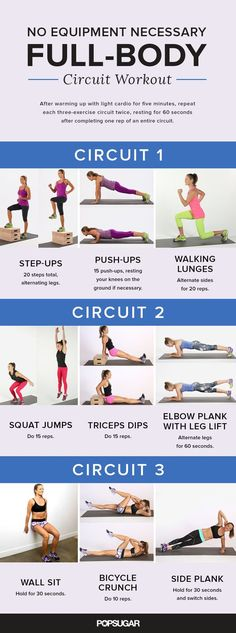This total-body circuit workout will have you feeling the burn. Check your excuses at the door because these exercises require no equipment at all.