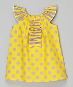 Another great find on #zulily! Yellow & Gray Polka Dot Ruffle Dress - Infant, Toddler & Girls #zulilyfinds
