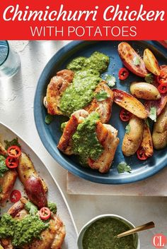 An herb- and chile-packed chimichurri sauce makes this chicken and potatoes main vibrant and exciting. This easy recipe is perfect for weeknights.   Cooking Light