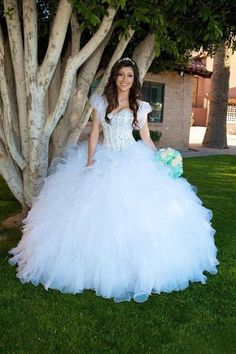 2016 White Romantic Ball Gowns Prom Dresses Quinceanear Dresses Organza Crystal Sequin Beaded Bodice Long Evening Dresses with Jacket Ruffles Party Dresses