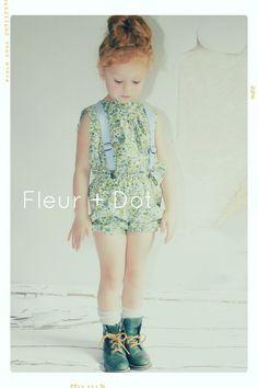 Little E for Fleur + Dot Spring Summer 13. Mini Meadow Aline Blouse, Spring Garden Bubble Shorts and Chambray Linen Suspenders. Kids fashion