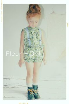 Little E for Fleur + Dot Spring Summer 13. Mini Meadow Aline Blouse, Spring Garden Bubble Shorts and Chambray Linen Suspenders. Kids fashion