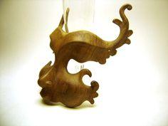 Sculpture masque en bois arabesques comedia del arte