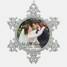 Our First Christmas Wedding Photo Snowflake Pewter Christmas Ornament - tap/click to get yours right now! #SnowflakePewterChristmasOrnament #first #christmas, #our #couple, #holiday, Christmas Ships, Christmas Couple, First Christmas, Christmas Wedding, Christmas Gifts, Christmas Ornaments, Holiday, Snowflake Ornaments, Snowflakes
