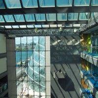 Interior Atrium Gantry and Suspended cradle at Pricewaterhouse Coopers, Spencer Dock, Dublin, Ireland