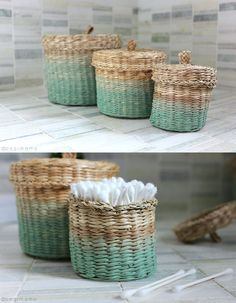 ikea hack ombre painted baskets dove rock pinterest osier malle et corbeille. Black Bedroom Furniture Sets. Home Design Ideas